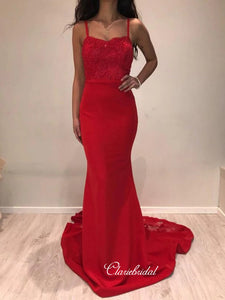 Red Lace School Party Prom Dresses, Popular Mermaid Long Prom Dresses