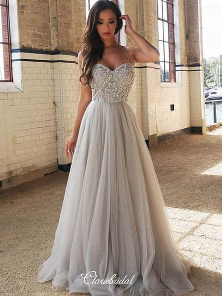 Sweetheart Beaded 2020 Newest Prom Dresses, Evening Party Long A-line Prom Dresses