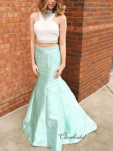 Two Pieces Mermaid Long Prom Dresses, Sleeveless Beaded Prom Dresses