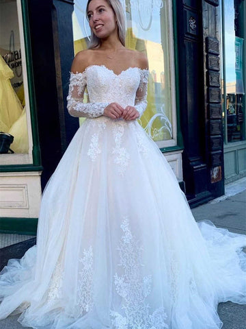 Off The Shoulder Long Sleeves Lace Tulle Wedding Dresses, Elegant Long Bridal Gown