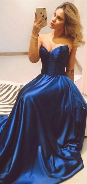 Simple Strapless Long Prom Dresses, Evening Party Prom Dresses, A-line Prom Dresses