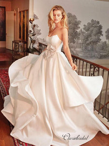 Strapless A-line Satin Wedding Dresses, Elegant Unique Wedding Dresses