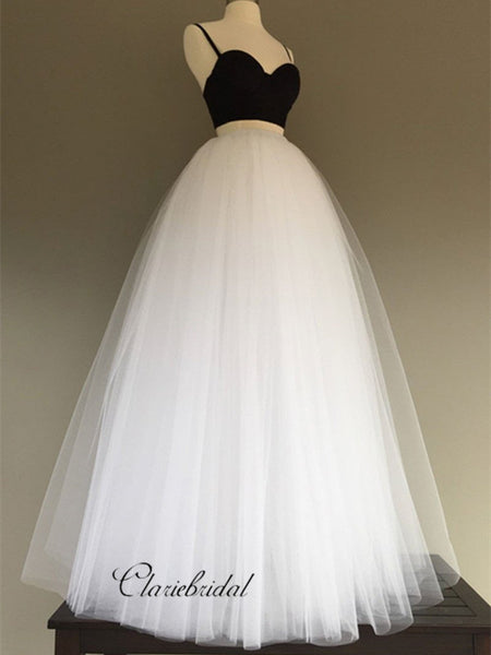Two Pieces Spaghetti Straps Wedding Dresses, Cheap Tulle Wedding Dresses