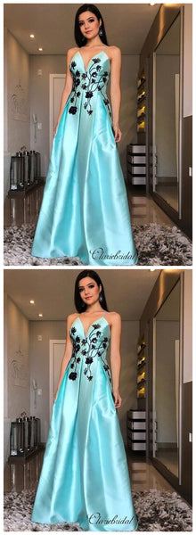 V-neck A-line Prom Dresses, Spaghetti Staps Long Prom Dresses