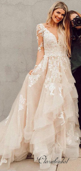 V-neck Lace Long Wedding Dresses, Long Sleeves A-line Wedding Dresses