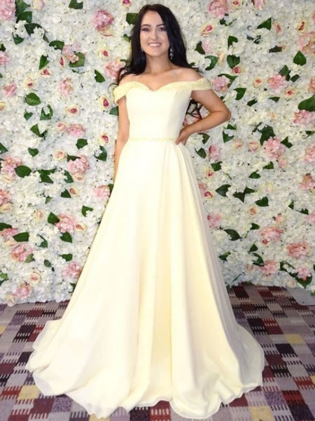 Off Shoulder A-line Prom Dresses, Newest 2020 Prom Dresses, Long Prom Dresses