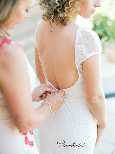Cap Sleeves Wedding Dresses, Beach Lace Wedding Dresses