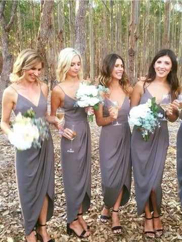 Simple Long Sheath Grey Jersey Bridesmaid Dresses, Long Bridesmaid Dresses, Popular Bridesmaid Dresses