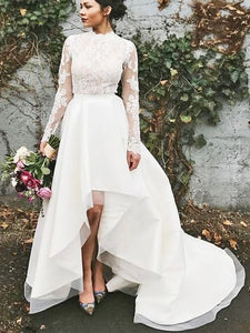 Long Sleeves Lace Wedding Dresses, Popular A-line Wedding Dresses, 2020 Wedding Dresses