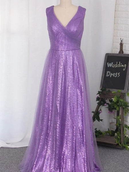 2020 Newest Long Bridesmaid Dresses, Sequins Popular Wedding Guest Dresses