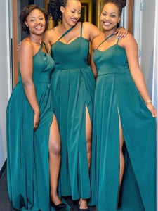 One Shoulder Slit Long Bridesmaid Dresses, Newest 2020 Wedding Guest Dresses