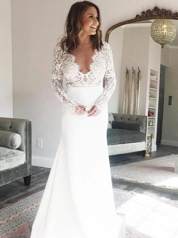 Long Sleeves Lace Wedding Dresses, Popular Bridal Gowns, 2020 Wedding Dresses