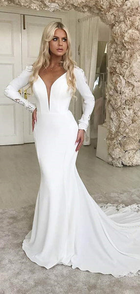 Long Sleeves Lace Wedding Dresses, V-neck Newest Mermaid Wedding Dresses