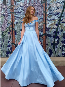 A-line Satin Long Prom Dresses, Off The Shoulder Appliques Prom Dresses