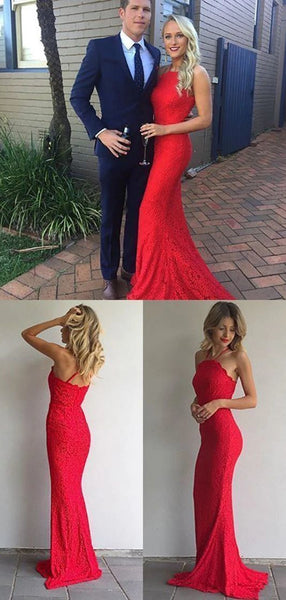 Red Color Lace Prom Dresses, Mermaid Prom Dresses, Newest 2020 Prom Dresses