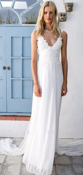 Spaghetti Straps Lace Simple Wedding Dresses, Open Back Fashion Wedding Dresses