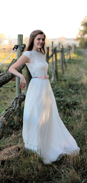 Cap Sleeves Top Lace Wedding Dresses, A-line 2020 Wedding Dresses