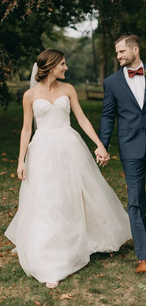 Sweetheart A-line Wedding Dresses, Newest 2020 Strapless Wedding Dresses