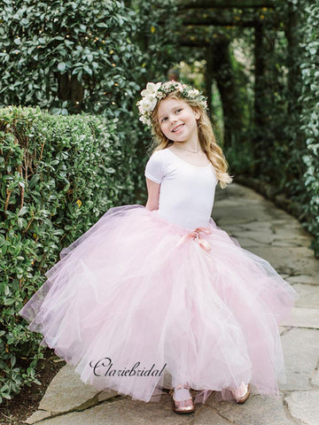 Cap Sleeves Tulle Flower Girl Dresses, Princess Little Girl Dresses