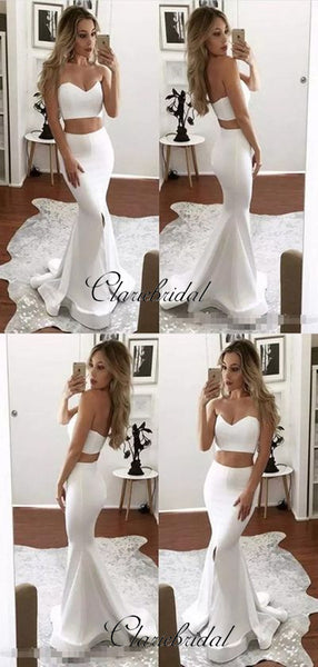 2 pieces Evening Party Prom Dresses, Mermaid Slit Sexy Prom Dresses
