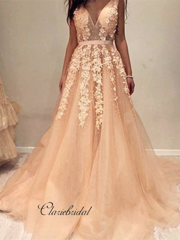 Sexy V-neck Lace Prom Dresses, A-line Lace Tulle Prom Dresses