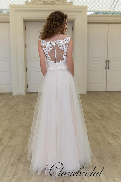Elegant Lace Top A-line Ivory Tulle Long Wedding Dresses, Bridal Gown