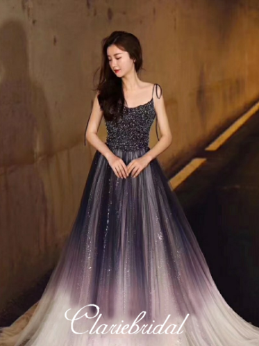 Spaghetti Long A-line Gradient Sequin Tulle Beaded Prom Dresses, Long Prom Dresses, Newest Claire Design Prom Dresses