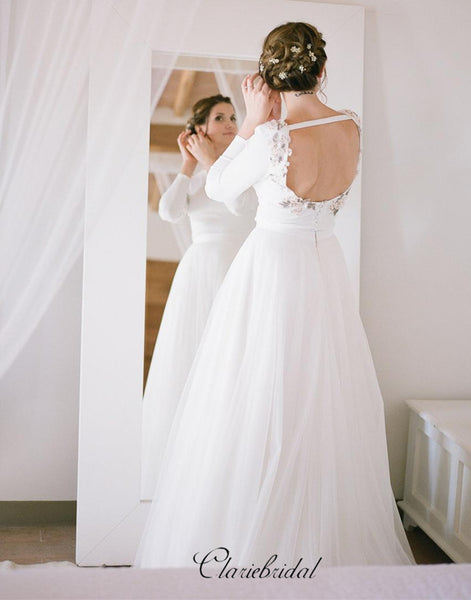 Long Sleeves Beaded Wedding Dresses, Tulle A-line Wedding Dresses