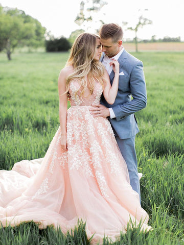 Pink Color V Neck 2021 Popular Wedding Dresses, A Line Lace Bridal Gowns, Wedding Dresses