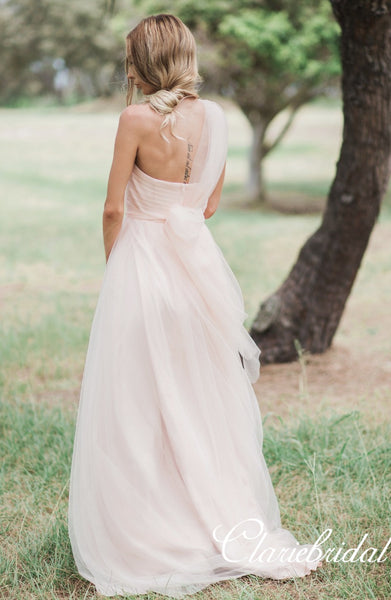 Lovely Pale Pink Tulle Long Bridesmaid Dresses, Wedding Guest Dresses
