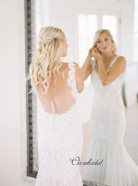 Mermaid Design Lace Wedding Dresses, Outdoor Wedding Dresses, Bridal Gowns