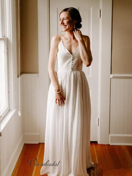 Simple Wedding Dresses, Cheap Wedding Dresses, Spaghetti Straps Wedding Dresses