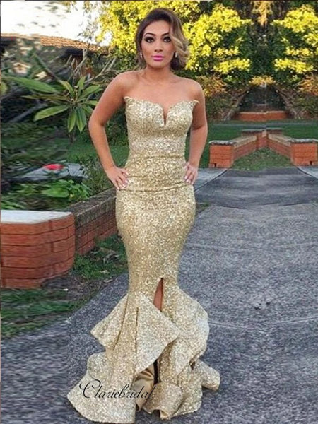 Strapless Sequins Prom Dresses Long, Mermaid Prom Dresses, 2020 Prom Dresses