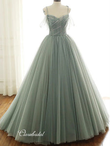 Elegant A-line Wedding Dresses, Simple Tulle Fancy Wedding Dresses