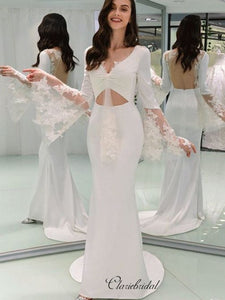 Fashion Mermaid 2020 Wedding Dresses, V-neck Popular Lace Wedding Dresses