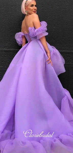 Off Shoulder High Low Prom Dresses, Fashion Prom Dresses, Graduation Prom Dresses