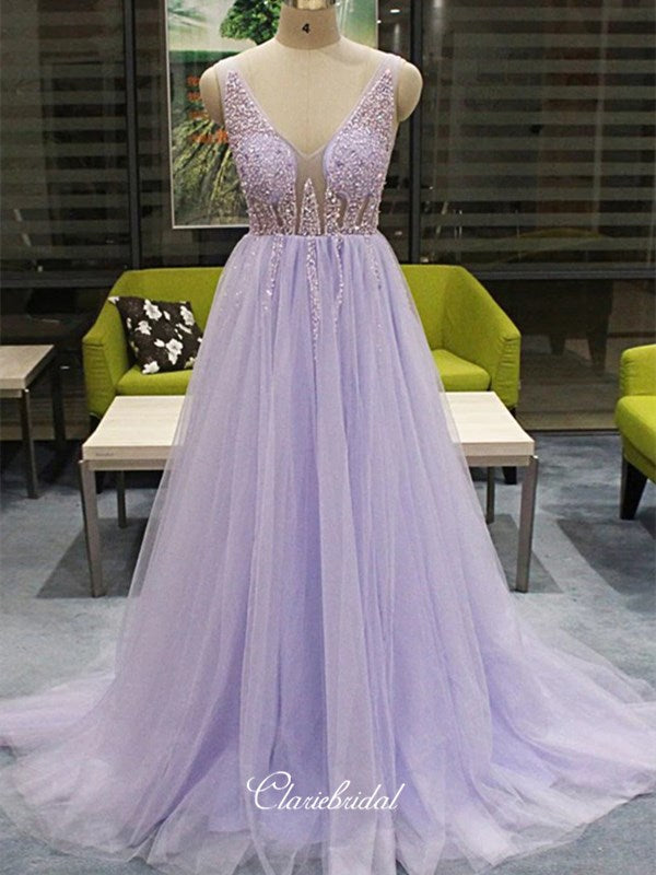 Elegant A-line Beaded Long Prom Dresses, Newest 2020 Prom Dresses, Prom Dresses