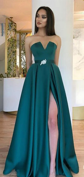 Popular Evening Long Prom Dresses, Strapless Prom Dresses, Fashion Prom Dresses