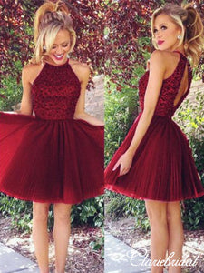 Lovely Beaded Top Tulle Skirt Short Prom Dresses, Open Back Homecoming Dresses
