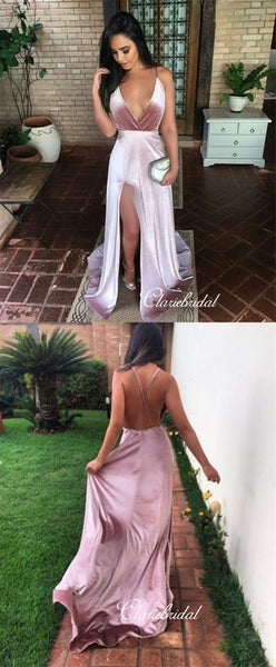 Simple Long Prom Dresses, Deep V-neck Prom Dresses, Cheap Prom Dresses