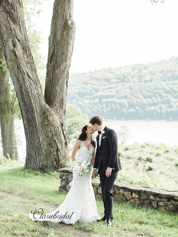 V-neck Lace Mermaid Wedding Dresses, Popular Lace Design Custom Wedding Dresses