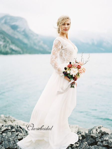 Long Sleeves Modest Lace Wedding Dresses, Newest Wedding Dresses, Bridal Gowns