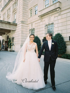 Outdoor A-line Elegant Wedding Dresses, Lace Tulle Wedding Bridal Gowns