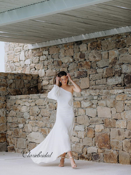 One Shoulder Wedding Dresses, Unique Design Slit Wedding Dresses, Bridal Gowns 2019