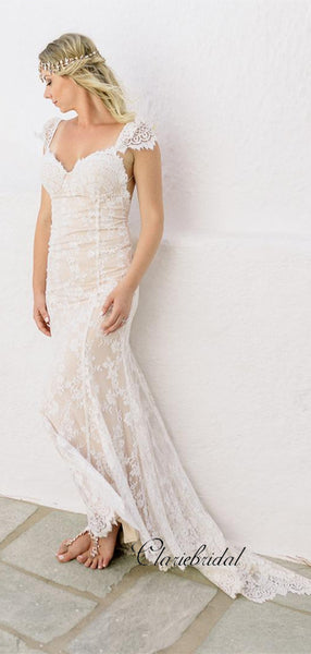 New Trendy Beach Wedding Dresses, Fashion Lace Open Back Wedding Dresses