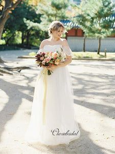 Simple Off Shoulder Wedding Dresses, Cheap Popular Wedding Dresses, Bridal Gown