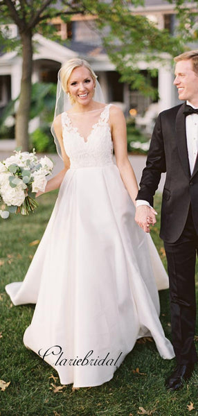 Elegant Satin A-line Wedding Dresses, Popular Lace Wedding Dresses