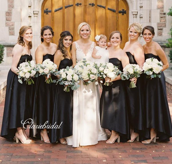 Strapless Black Bridesmaid Dresses, Sweetheart Wedding Guest Dresses