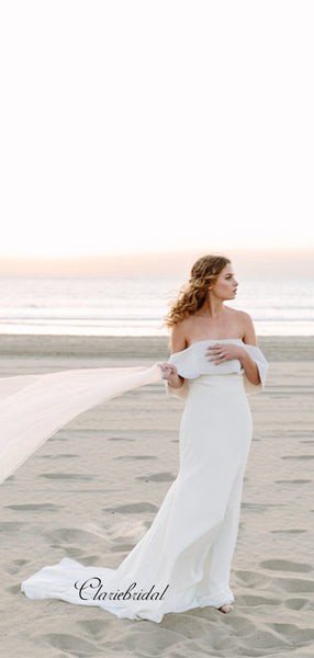 Off The Shoulder Beach Wedding Dresses, Fancy Beaded Bridal Wedding Gowns