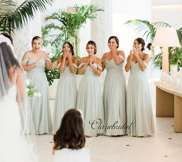 Newest Off The Shoulder Bridesmaid Dresses, A-line Chiffon Bridesmaid Dresses
